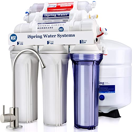 iSpring RCC7AK 6-Stage Under Sink Reverse Osmosis Drinking Water Filter System, NSF Certified, Superb Taste High Capa...