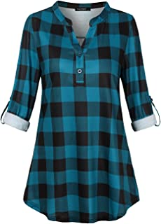 Women's Fashion Split V Neck Long Sleve Casual Roll-Up 3/4 Sleeve Plaid Tunic Blouses Tops