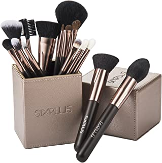 70% SALE!SIXPLUS 15pcs Coffee Makeup Brush Set with Makeup Holder (coffee)