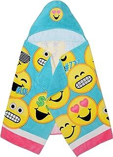 "Franco Kids Bath and Beach Soft Cotton Hooded Towel Wrap, 24"" x 50"", Emojination Blue"