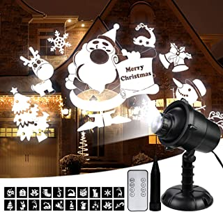 Popular Christmas Light Projector, LED Waterproof Landscape Spotlight 20 Patterns Christmas Decorative Projector Lights with RF Wireless Remote, Perfect for Indoor Outdoor Garden Patio Festival Party