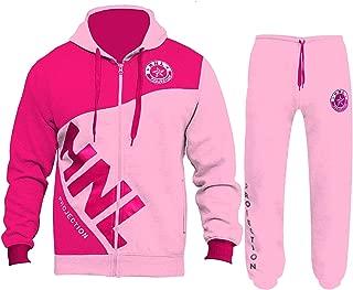Kids Boys Girls Tracksuit Baby Pink HNL Zipped Hoodie & Bottom Gym Jogging Suits