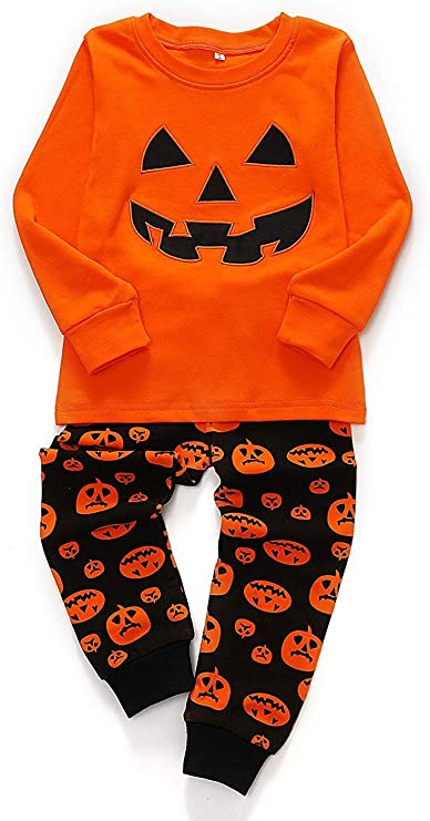 Toddler Boys Halloween Pumpkin Pajamas 100% Cotton Pjs for Boy Jammies Little Kids Sleepwear Clothes Sets Size 2-7T