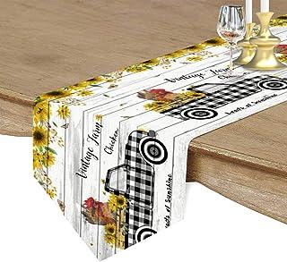 Seven Sunshine Sunflower Farm Rooster Buffalo Truck Wood Grain Cotton Linen Table Runner Burlap Home Decorative Tabletop A...