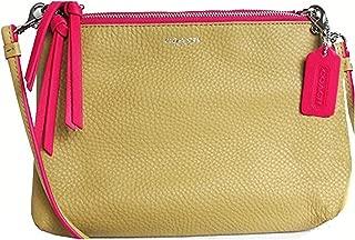NWT F51636 Bleecker Edgepaint Tri Zip Leather Crossbody Camel/Pink Ruby