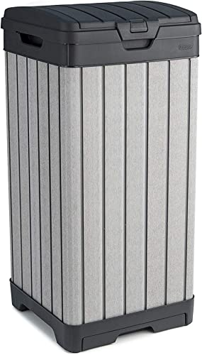 Keter 235916Poubelle d'extérieur, Gris, 125 L en Résine, 41 x 41 x 87.4 cm
