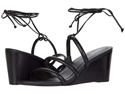 KAANAS Santana Wedge with Textured Strap + Ankle-Wrap (Black) Women