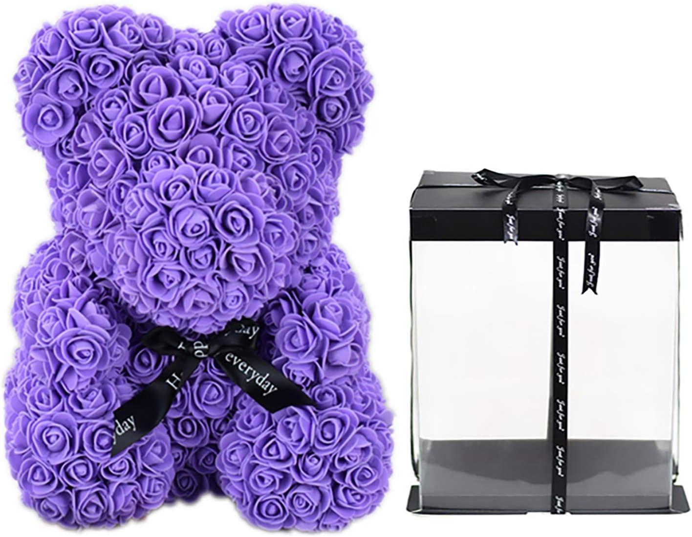 Qivange Rose Bear Teddy Best OFFicial Gift B Flower Omaha Mall Artificial