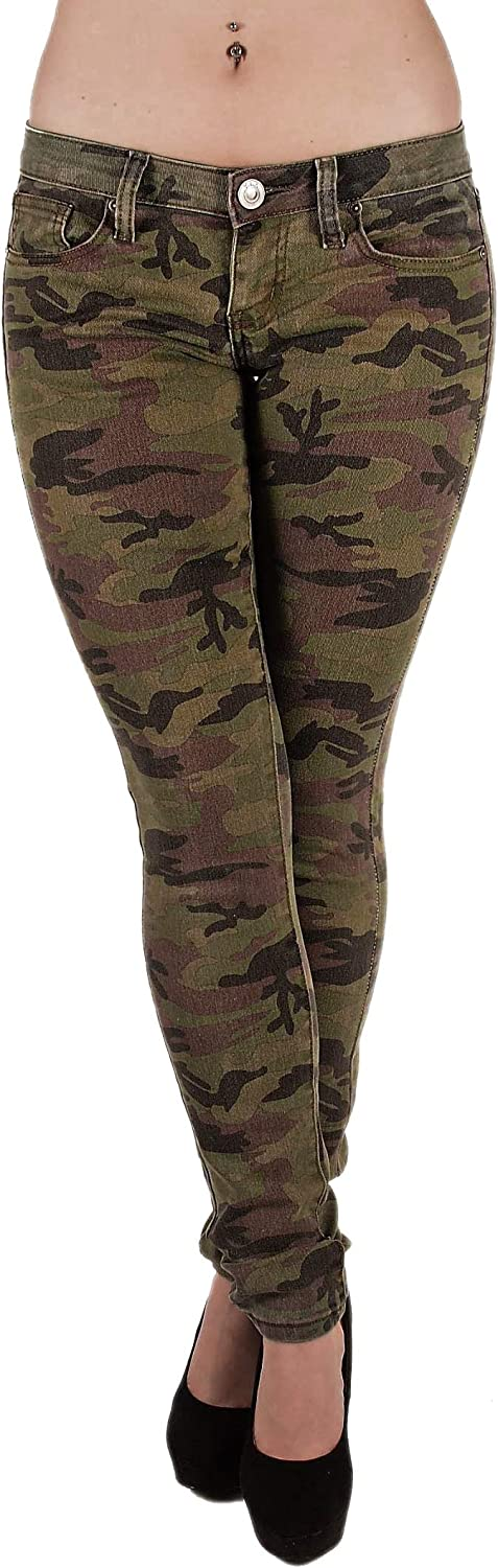 Women`s Plus/Junior Size Classic 5 Pockets Camouflage Skinny Jeans