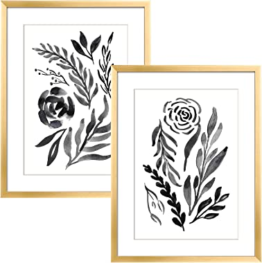 ArtbyHannah 12x16 Inch 2 Pack Framed Wall Art Decor Gold Picture Frame Collage Set for Gallery Wall Kit with Black and white