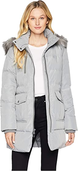 Astoria Down Filled Anorak with Faux Fur Trim Hood Patch Pockets