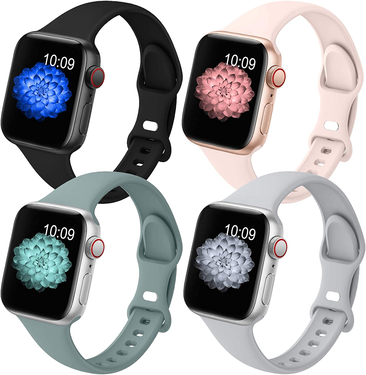 GeekSpark 4 Pack Slim Band Compatible with Apple Watch Band 38mm 40mm 42mm 44mm for Women Men, Thin Narrow Soft Silicone Replacement Strap Band for iwatch SE/Series 6/5/4/3/2/1