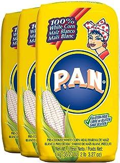 P.A.N. Comida de maíz blanco - Precocida sin gluten y harina Kosher para Arepas, 1 kilogramo (35 onzas/2 libras) 2.2 Pound...