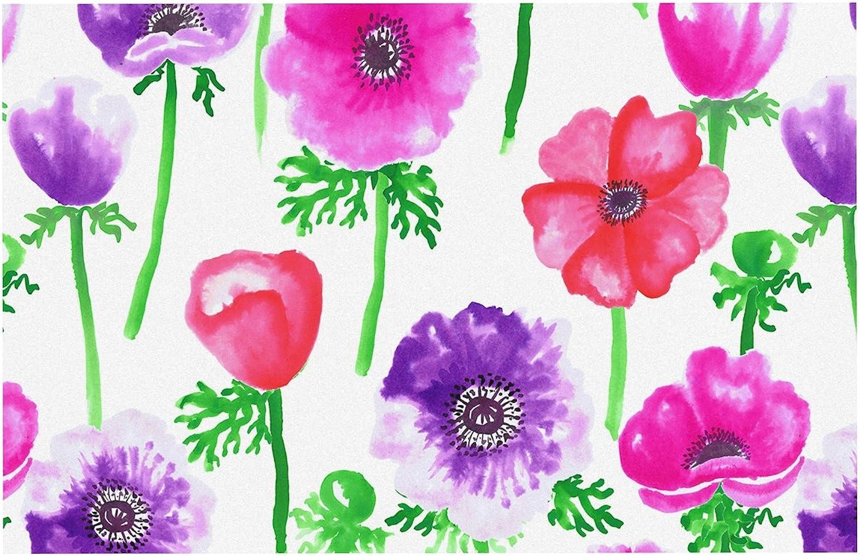 KESS InHouse AS1026ADM02 Anneline Sophia Anemones Pink Flowers Dog Place Mat, 24 x15