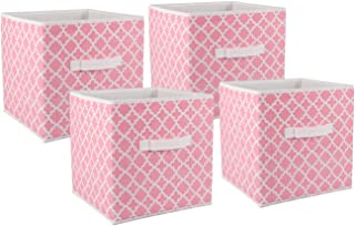 DII Foldable Fabric Storage Containers for Nurseries, Offices, Closets, Home Décor, Cube Organizers & Everyday Use, 11 x 11 x 11, Pink Sorbet Lattice-Set of 4, Small (4)