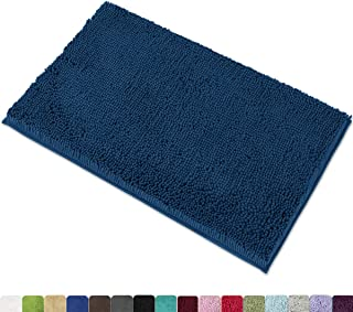"""MAYSHINE Chenille Bath Mat for Bathroom Rugs 32"""" x20"""", Extra Soft and Absorbent Microfiber Shag Rug, Machine Wash Dry- Perfect Plush Carpet Mats for Tub, Shower, and Room- Dark Blue"""