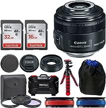 Canon EF-S 35mm f/2.8 Macro IS STM Lens + 49mm Filter Kit + 32GB Memory Card + 24 Slot Hardcase Card Holder + Lens Pouch + Flexible Tripod + Lens Band (Red) + Lens Band (Blue) - Top Value Lens Bundle!