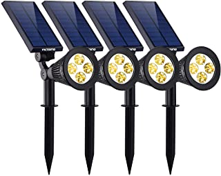 VicTsing 4 Pack Solar Spotlights,The Third Generation 2-in-1 Waterproof Adjustable 4 LED Wall/Landscape Solar Lights with Automatic On/Off Sensor for Driveway, Yard, Lawn, Pathway, Garden Warm White