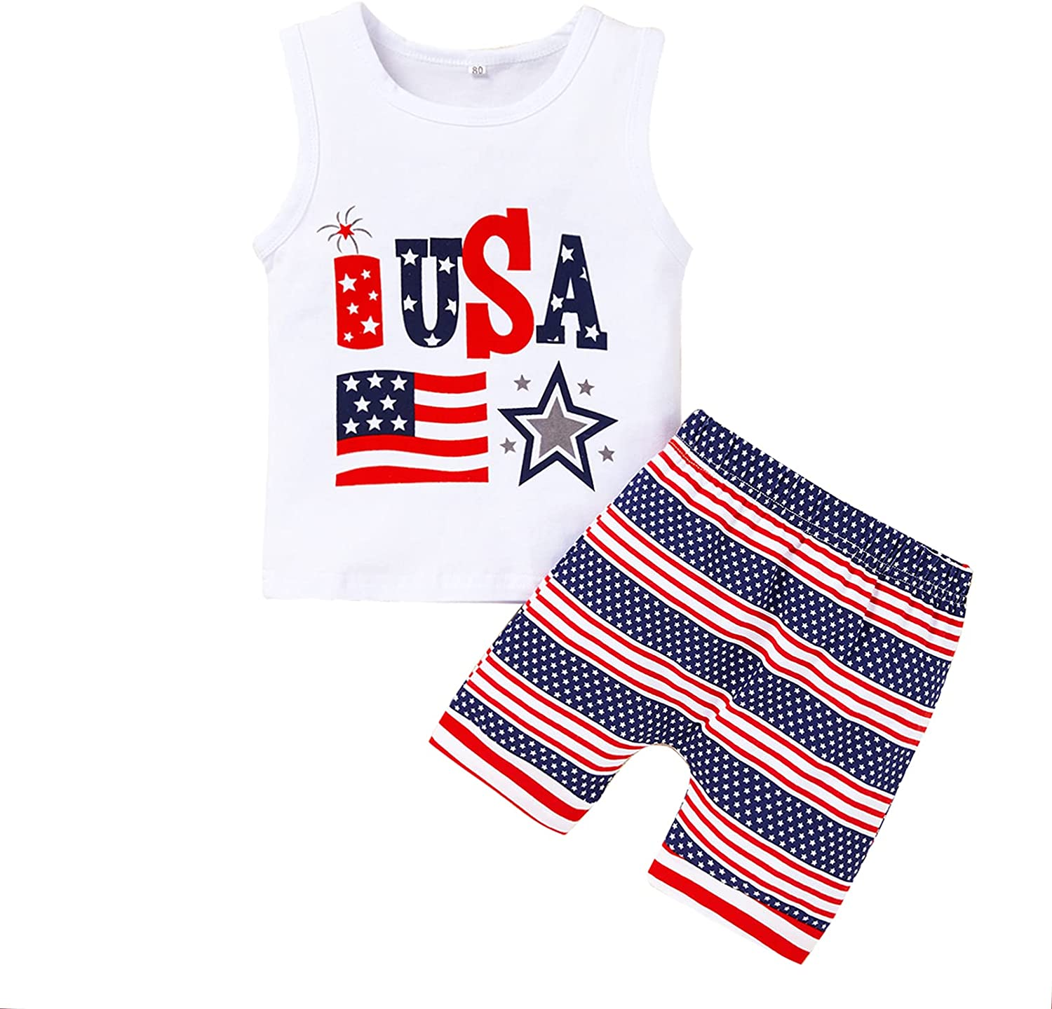 4th of July Outfits Baby Boy Shorts Set USA Letter Print Vest Top + American Flag Shorts Independence Day Clothes Set