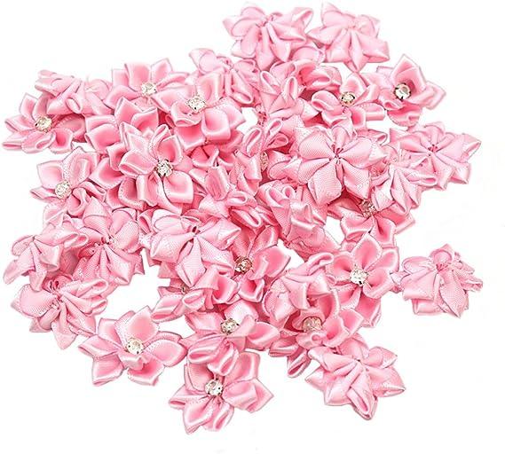 40Pcs Crystal Rhinestone Decoration Satin Ribbon Flower Appliques Crafts DIY