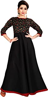 Spangel Fashion Silk Embroderied design Readymade Women's Ethnic Gowns Anarkali Dress
