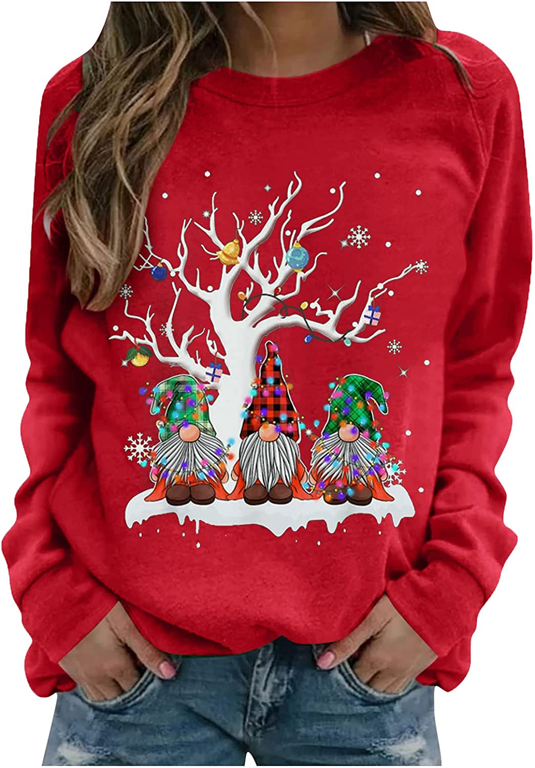 YALFJV Sweatshirts for Women Funny Christmas Print Crewneck Pullover Casual Loose Long Sleeve Sweaters Shirts Tops Blouse