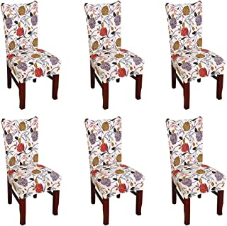 FORCHEER Dining Chair Cover for Dining Room Set 6 Pack Printed Seat Slipcovers for Office Computer Chairs Protector Wedding Banquets Party