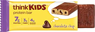 Thinkkids Protein Bars - Chocolate Chip, 7g Protein, 3g Fiber, 4g Sugar, No Artificial Flavors or Colors, Gluten Free, GMO...