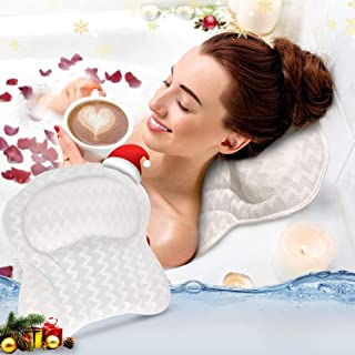 Bath Pillow Ergonomic Bathtub Spa Pillow Cushion with Non-slip 6 Strong Suction Cups Head Rest and Neck Shoulder Support 3...