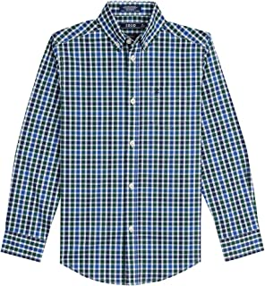 Boys' Big Long Sleeve Gingham Button-Down Dress Shirt