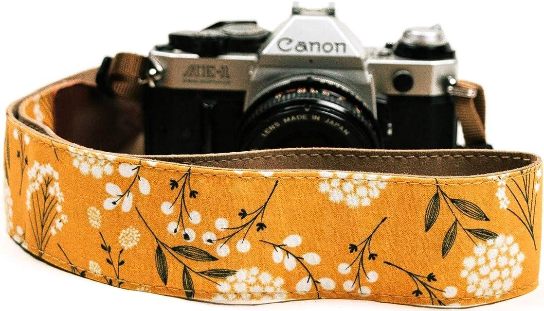 Correa de cámara con Flores de primavera para cámaras DSLR – Elegante correa universal de algodón para réflex – Correa de hombro y cuello para Canon Nikon Pentax Sony Fujifilm y cámara digital