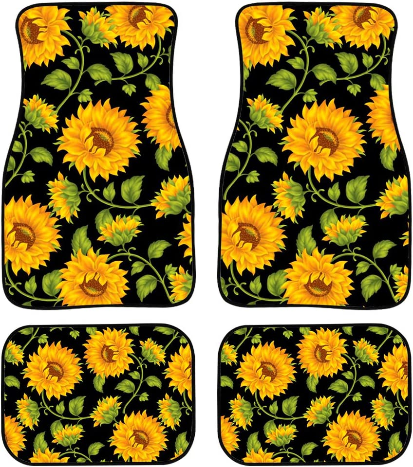 PZZ BEACH Sunflower Front All items free shipping and Rear Car SUV Mats for Complete Free Shipping Carpet Floor