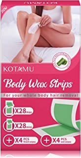 Body Wax Strips, KOTAMU Hair Removal Strips for Face Legs Underarms Brazilian Bikini with 56 Count Cold Waxing Strips & 8 Post Cleaning Wipes