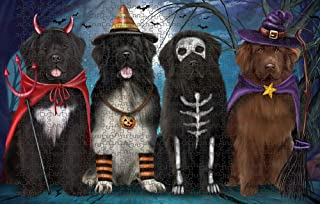 Happy Halloween Trick or Treat Newfoundlands Dog Puzzle with Photo Tin PUZL85596 (1000 pc. 20
