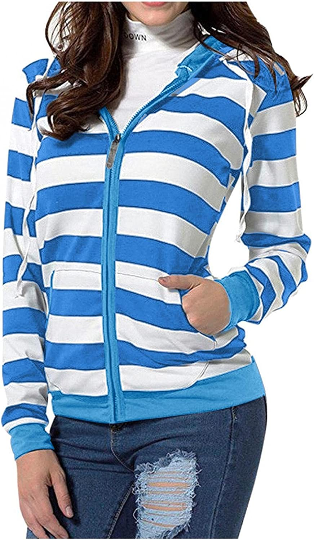 Womens Hoodie, Casual Striped Printeds Long Sleeve Full Zip Hoodies Drawstring Lightweight Tops Shirts Tops