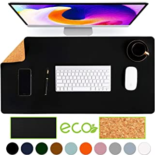 "Aothia Eco-Friendly Natural Cork & Leather Double-Sided Office Desk Mat & Mate Mouse Pad Smooth Surface Soft Easy Clean Waterproof PU Leather Desk Protector for Office/Home Game (Black,31.5"" x 15.7"")"