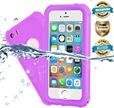 EFFUN Waterproof iPhone 5/5S/SE Case, IP68 Certified Water/Dust/Snow/Shock Proof Case with Cell Phone Holder, PH Test Paper, Stylus Pen and Floating Strap Black/White/Aqua Blue/Pink/Light Blue/Purple
