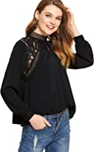 SheIn Women's Casual Long Sleeve Keyhole Contrast Lace Tops Blouses