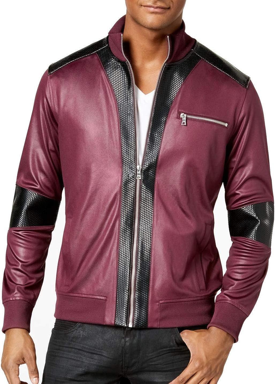 I-N-C Mens Faux Leather Trim Jacket