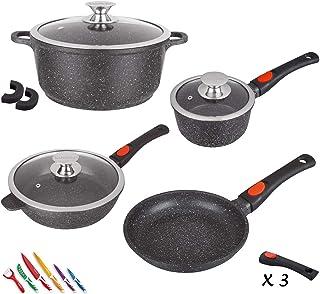 Kamberg - 0008166 - Set Lot Batterie de cuisine 10 pièces - Fonte d'aluminium - Revêtement pierre - Tous feux dont inducti...