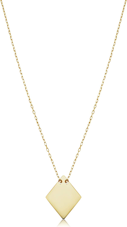 KoolJewelry 14k Yellow Gold Diamond Shaped Geometric Choker Necklace for Women (adjusts to 15 or 16 inch)
