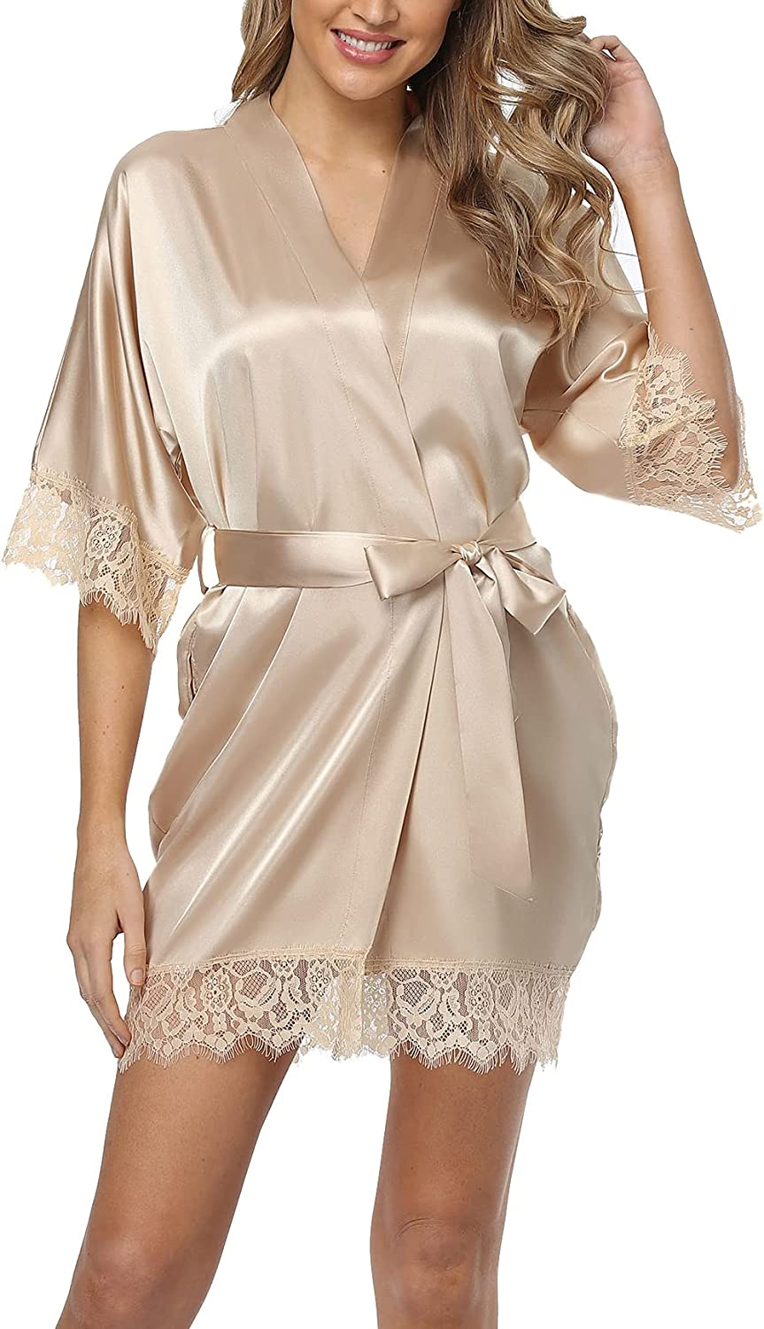 In stock Old-Times Women Satin Short Omaha Mall Robes for Bride Nigh Bridesmaid Sexy