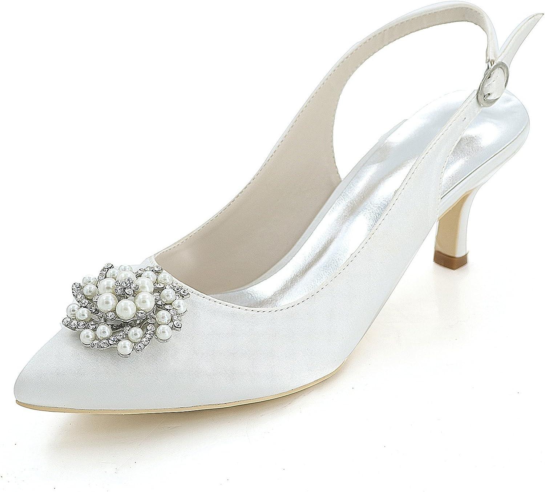 Elobaby Frauen Hochzeit Schuhe Grundlegende Braut Satin Mode Mode Mode Strass High Heels Party & Elfenbein Geschlossene Spitze   6 cm Ferse  28b8dd