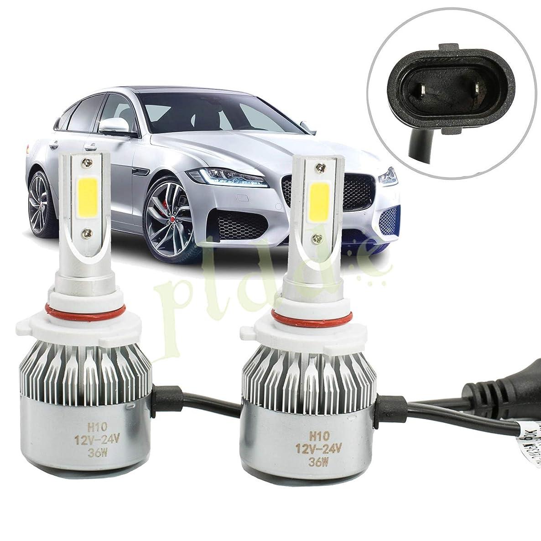 PLDDE 2pcs H10/9040/9050/9055/9140/9145 6000K Cool White 7200LM All-in-One LED COB Bulbs Conversion Kit For Headlights Driving Fog Light DRL Lamp DC 12V/24V IP67 Driver+Passenger Replacement