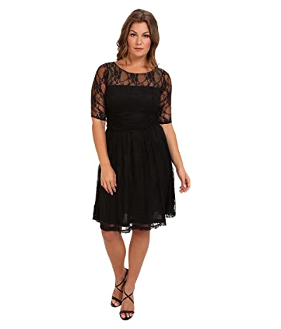 Kiyonna Luna Lace Dress (Black Noir) Women