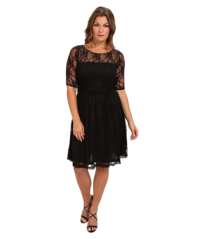 Kiyonna Luna Lace Dress (Black Noir) Women's Dress