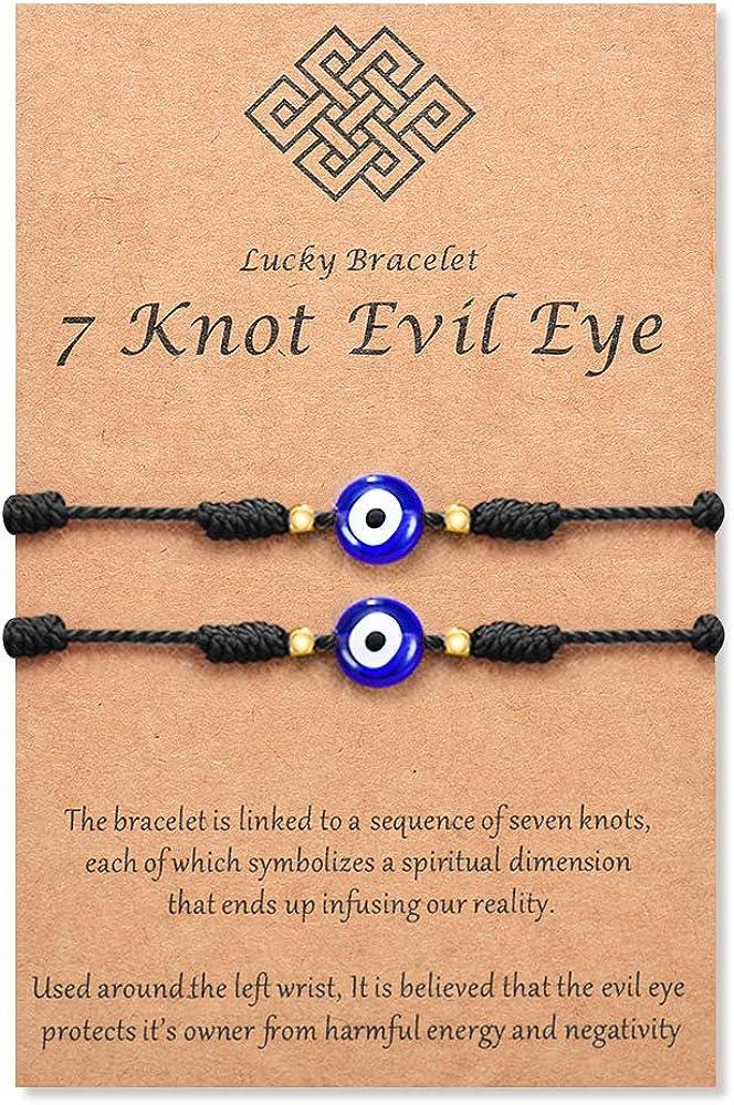 Tarsus (Ver.3) Evil Eye 7 Knot Lucky Bracelets Adjustable Red String Amulet for Women Men Little Boys & Girls