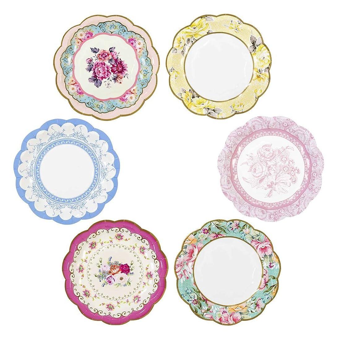 希少性耐えられない精神医学Talking Tables Truly Scrumptious Vintage Floral Teaパーティーやピクニックに使い捨てプレート、12カウント、6.75インチ、小型、マルチカラー