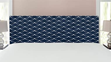 Ambesonne Navy Headboard, Shell Pattern with Half Circled Lines Like Ocean Waves Nautical Modern Illustration, Upholstered De