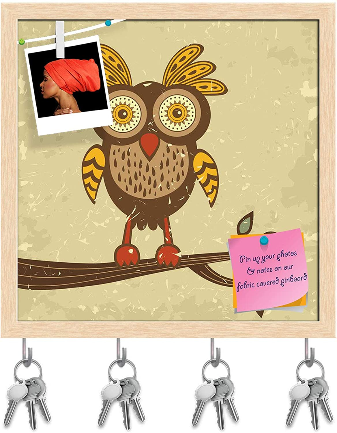 Artzfolio Retro Style Owl Key Holder Hooks   Notice Pin Board   Natural Brown Frame 20 X 20Inch